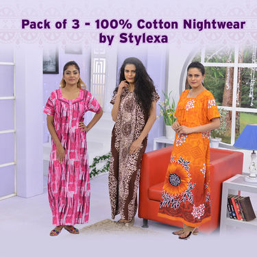 Pack of 3 - 100% Cotton Nightwear by Stylexa