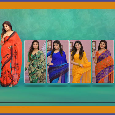Pack of 5 Assorted Printed Georgette Sarees by Pakhi (5G1)