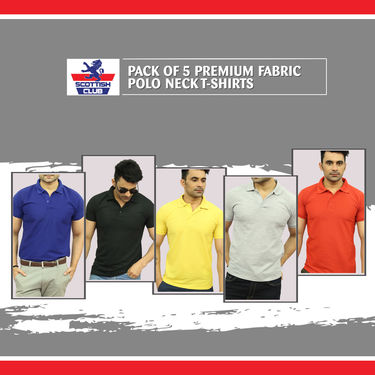 Pack of 5 Premium Fabric Polo Neck T-shirts (5PT6)