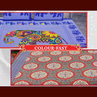 Pack of 5 Double Bed Jaipur Color Block Print Bedsheets + 1 Double Bedsheet Free (5BS47)