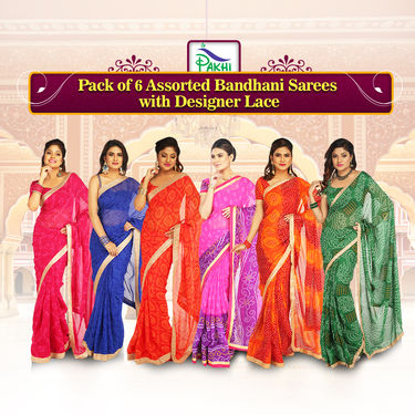 Pack of 6 Assorted Bandhani Sarees with Designer Lace by Pakhi (6GBS4)