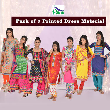 Pack of 7 Printed Dress Material by Pakhi (7PDM8)