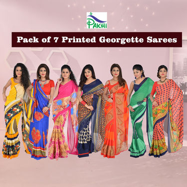 Pack of 7 Printed Georgette Sarees by Pakhi (7G37)