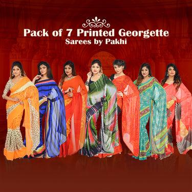 Pack of 7 Printed Georgette Sarees by Pakhi (7G38)