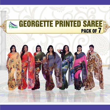 Pack of 7 Printed Georgette Sarees by Pakhi (7G44)