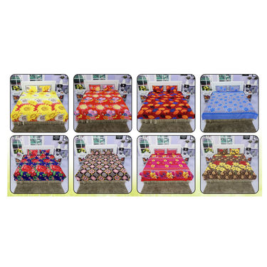 Pack of 8 Double Bedsheets Spring Home Collection + 16 Pillow Covers (8BS7)