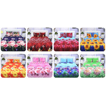 Pack of 8 Premium 3D Print Floral Home Double Bedsheet Set (8BS9)