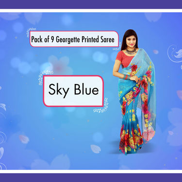 Pack of 9 Printed Georgette Sarees by Pakhi (9G17)