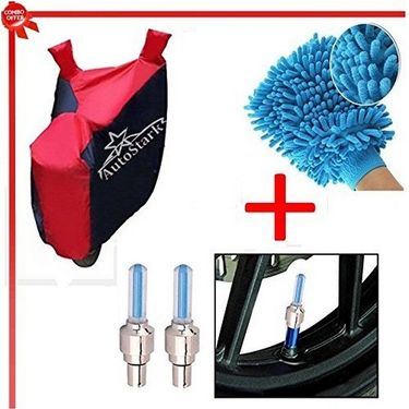 AutoStark Accessories Bike Body Cover Red & Blue +Tyre Led Light Blue+Bike Cleaning Gloves - Universal