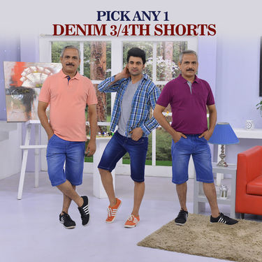 Pick Any 1 Denim 3/4th Shorts (1DS1)