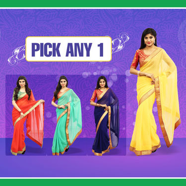 Pick Any 1 Designer Jari Border Georgette Saree by Pakhi (DES18)