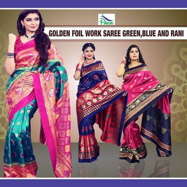 Pick Any 1 Golden Foil Work Saree by Pakhi (FPS5)