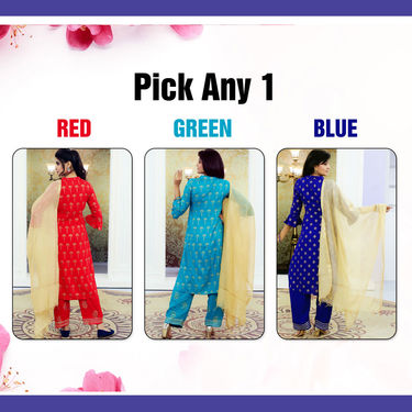 Pick Any 1 Golden Print Kameez And Palazzo Set with Dupatta (PKPS1)