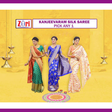 Pick Any One Kanjeevaram Silk Saree by Zuri (KSS19)