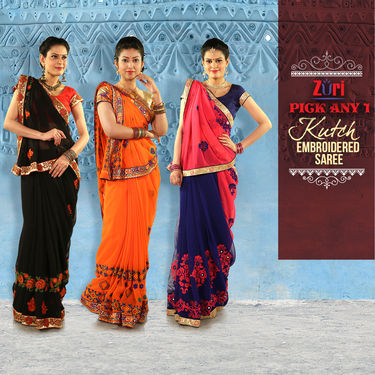 Pick Any One Kutch Embroidered Saree by Zuri (DES1)