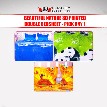 Beautiful Nature 3D Printed Double Bedsheet - Pick Any 1