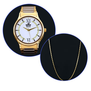 Men's Platinum & Gold Watch with Gold Chain (MGWC3)
