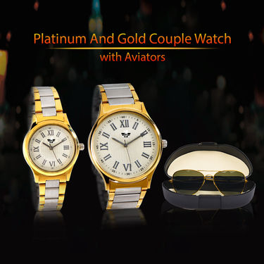 Platinum And Gold Couple Watch with Aviators