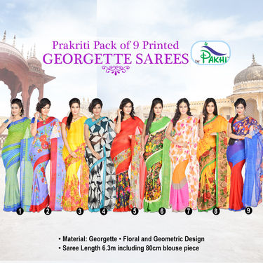 Prakriti Pack of 9 Printed Georgette Sarees (9G4)