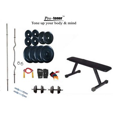 Protoner Weight Lifting Home Gym 58 Kg + Flat Bench + 4 Rods (1 Zig Zag) + Accessories