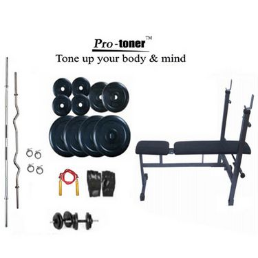 Protoner Weight Lifting Package 34 Kgs + 5 ft. Straight+ 3 ft. Curl Rod + Inc/Dec/Flat 3 In 1 Bench