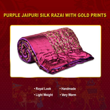 Purple Jaipuri Silk Razai with Gold Prints