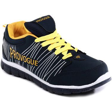 Provogue Navy Blue & Yellow Sports Shoes -Pv1063