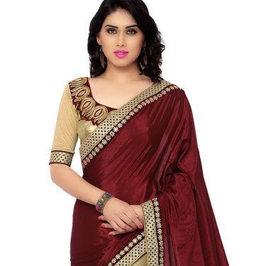 Indian Women Satin Chiffon Printed Saree -RA10604