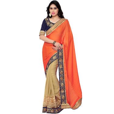 Indian Women Satin Chiffon Printed Saree -RA10607