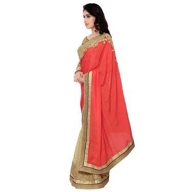 Indian Women Satin Chiffon Printed Saree -RA10614