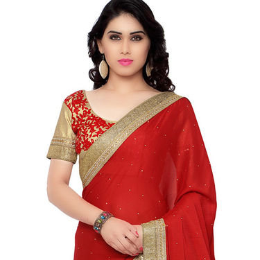 Indian Women Satin Jacquard Printed Saree -RA10621