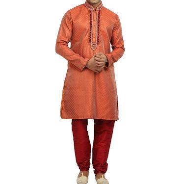 Runako Silk Full Sleeves Kurta Pyjama_RK4052 - Orange