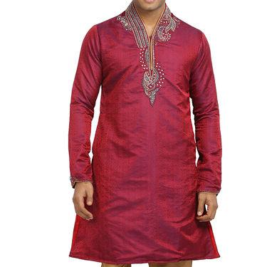 Runako Silk Full Sleeves Kurta Pyjama_RK4053 - Red