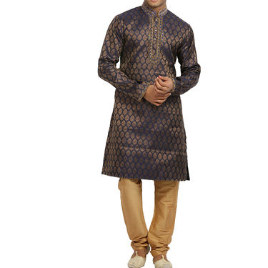 Runako Silk Full Sleeves Kurta Pyjama_RK4056 - Blue & Golden