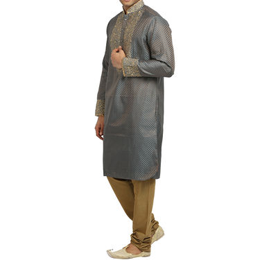 Runako Silk Full Sleeves Kurta Pyjama_RK4060 - Grey