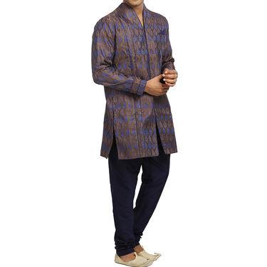 Runako Silk Full Sleeves Kurta Pyjama_RK4080 - Chocolate & Blue