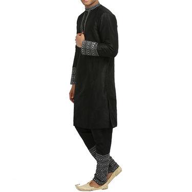 Runako Silk Full Sleeves Kurta Pyjama_RK4093 - Black