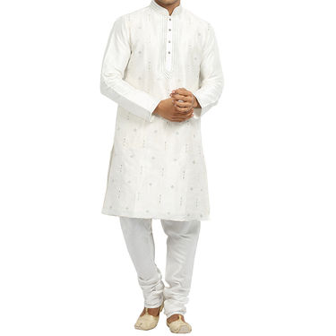 Runako Silk Full Sleeves Kurta Pyjama_RK4094 - White