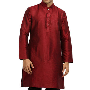Runako Regular Fit Printed Party Wear Silk Kurta For Men_RK4114 - Maroon