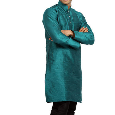 Runako Regular Fit Printed Party Wear Silk Kurta For Men_RK4118 - Blue