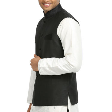 Runako Silk Sleeveless Nehru Jacket_RK4124 - Black