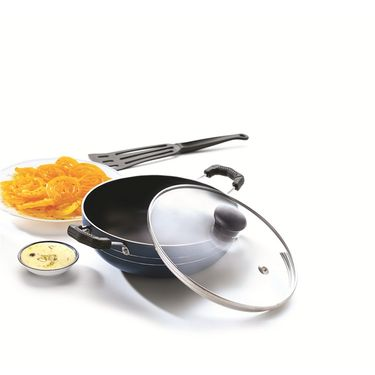 RECON MasterChef Non Stick Deep Kadai with Glass Lid 200mm (1.8ltr)_RMGDK200