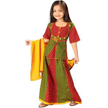 Little India Rajasthani Booti Work Lehanga Choli - Red Green - DLI3GED103A