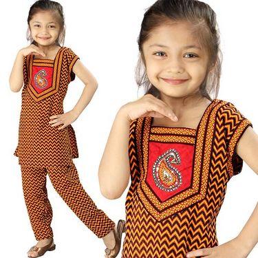 Little India Rajasthani Zigzag Sanganeri Motif Salwar Suit - DLI3GED102C