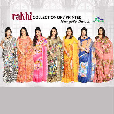 Rakhi Collection of 7 Printed Georgette Sarees by Pakhi (7G32)