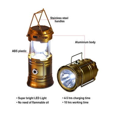 Rechargeable Solar Lantern with Powerbank Combo of 2