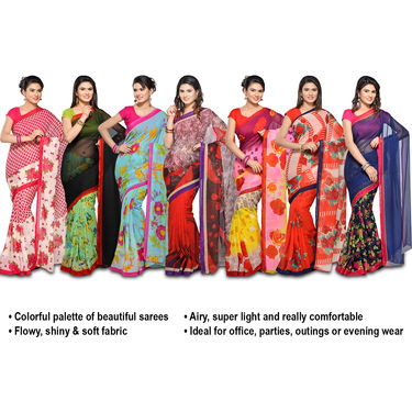 Reema Collection of 7 Printed Georgette Sarees by Pakhi (7G33)