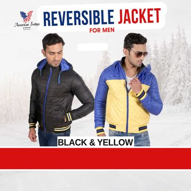 American Indigo 4 in 1 Premium Jacket for Men - Black & Yellow