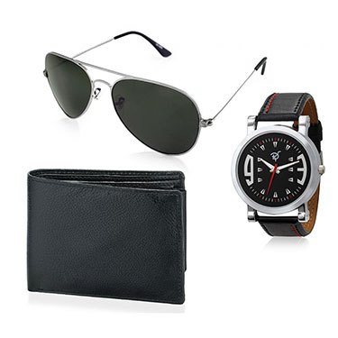 Combo of Rico Sordi Analog Wrist Watch + Sunglasses + Wallet_12398216