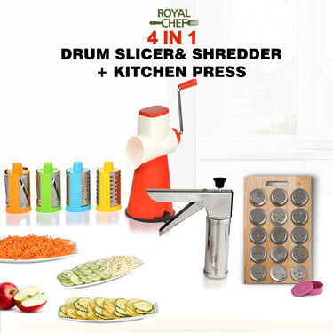 Royal Chef 4 In 1 Drum Slicer Shredder + Kitchen Press